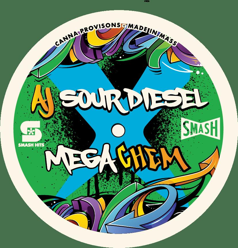 AJ Sour Diesel Mega Chem smash hits chemdog canna provisions flower strain